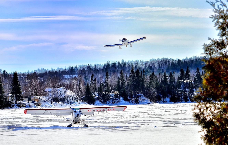 Photo wallpaper Canada, river, sky, planes, nature, blue, cloud, winter, lake, snow, village