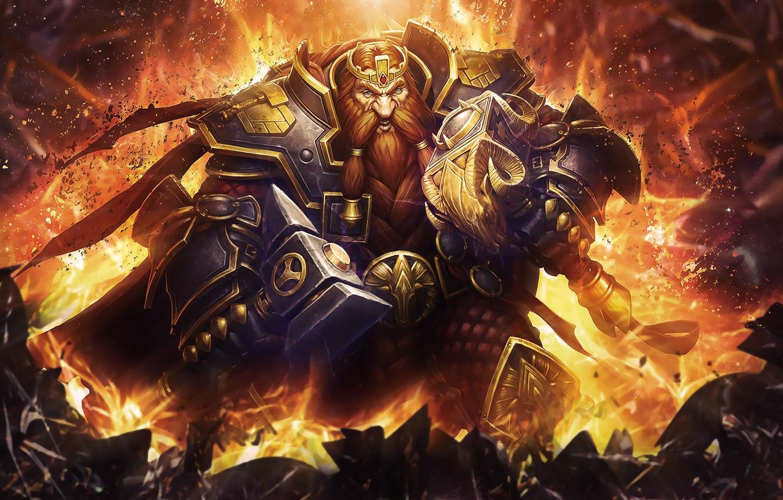 Photo wallpaper WoW, World of Warcraft, Dwarf, Hearthstone: Heroes of Warcraft, magni bronzebeard