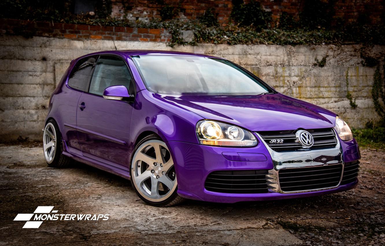 Photo wallpaper Volkswagen, R32, Golf, purple, Gloss