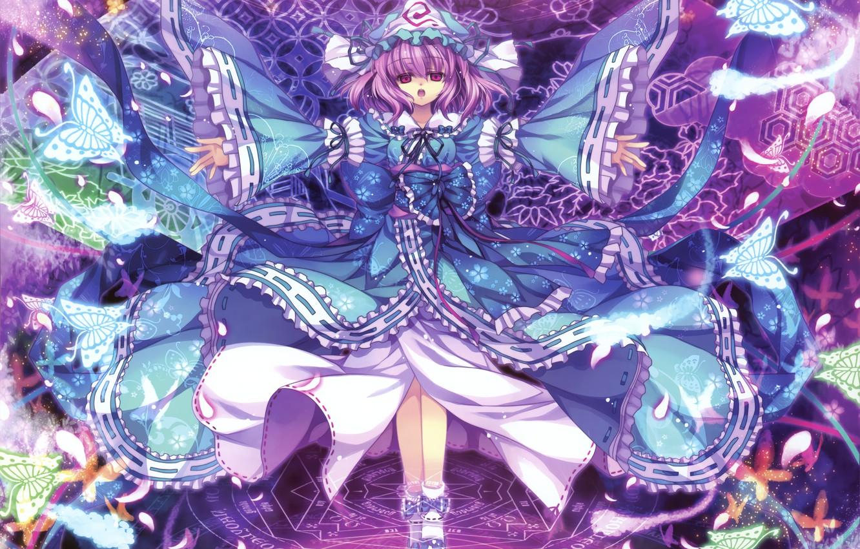 Photo wallpaper look, girl, butterfly, magic, touhou, art, saigyouji yuyuko, capura lin