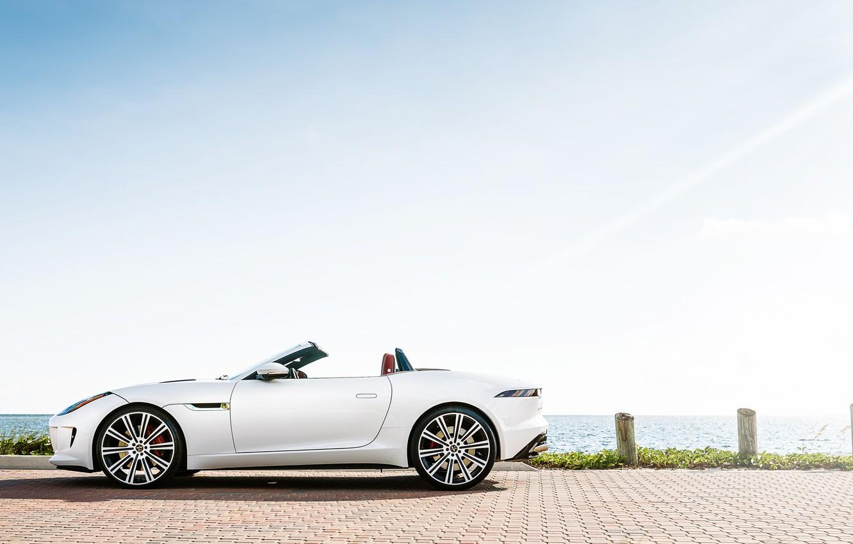 Photo wallpaper Jaguar, white, F-Type, profile