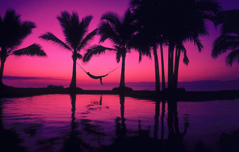 Wallpaper Pool Beach Man Mood Pleasure Palms Hammock Purple Sunset Images For Desktop Section Nastroeniya Download