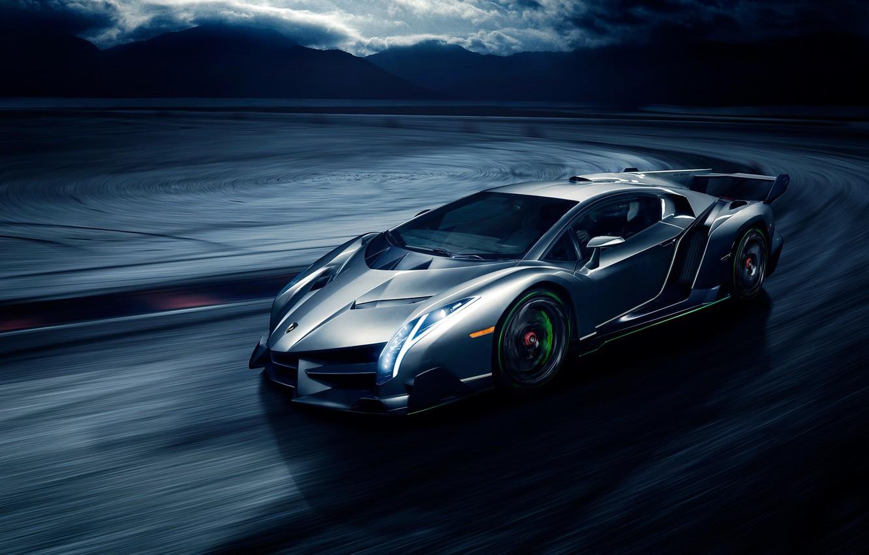 Photo wallpaper movement, speed, Lamborghini, front, Veneno