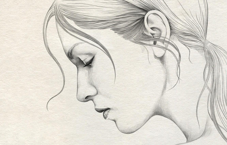 Photo wallpaper girl paper figure portrait profile pencil painting