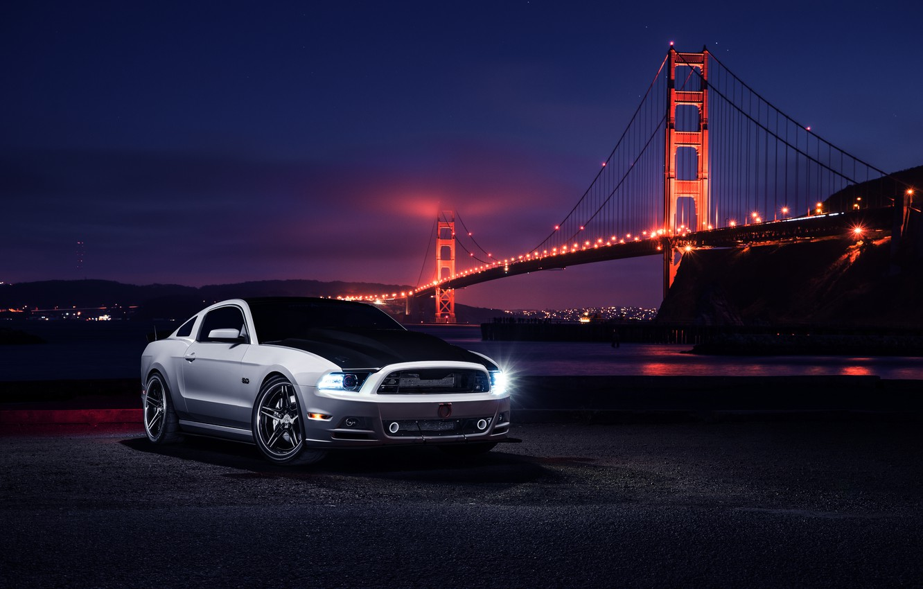 Photo wallpaper Mustang, Ford, Muscle, Car, Front, Bridge, White, Collection, Aristo, Top, Nigth