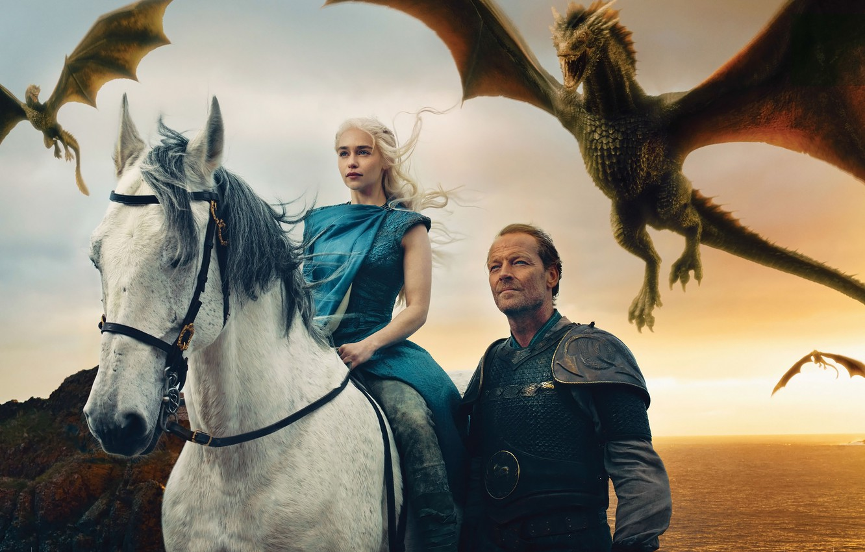 Photo wallpaper dragons, Game of Thrones, Emilia Clarke, Daenerys Targaryen, Iain Glen, Jorah Mormont