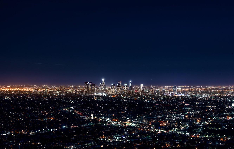 Photo wallpaper City, Blue, Landscape, Urban, Los Angeles, Downtown, Skyline, Photo, Architecture, Lifestyle