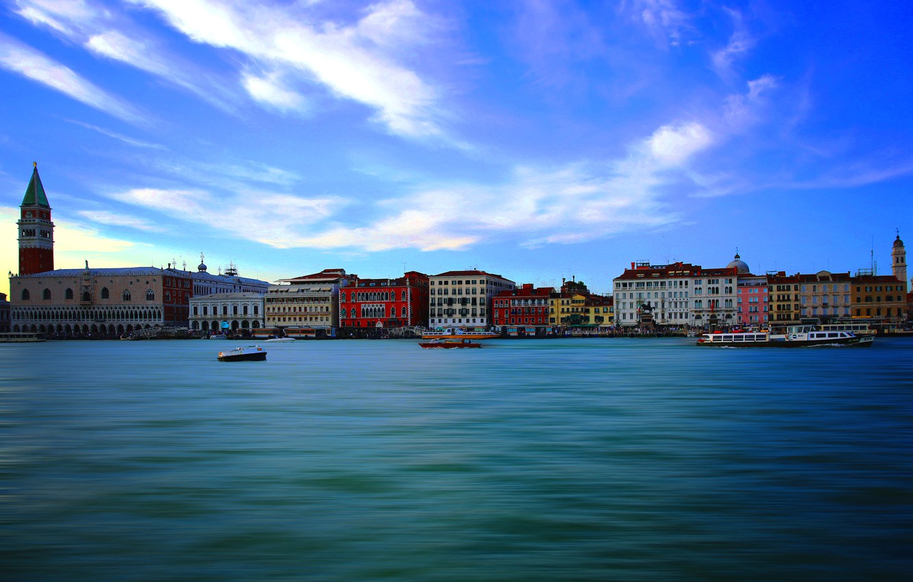 Photo wallpaper sea, tower, home, Italy, Venice, channel, the bell tower of St. Mark's Cathedral, The Doge's …