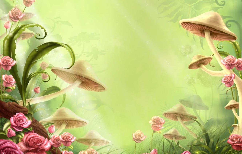 Photo wallpaper flowers, childhood, mushrooms, tale, clearing
