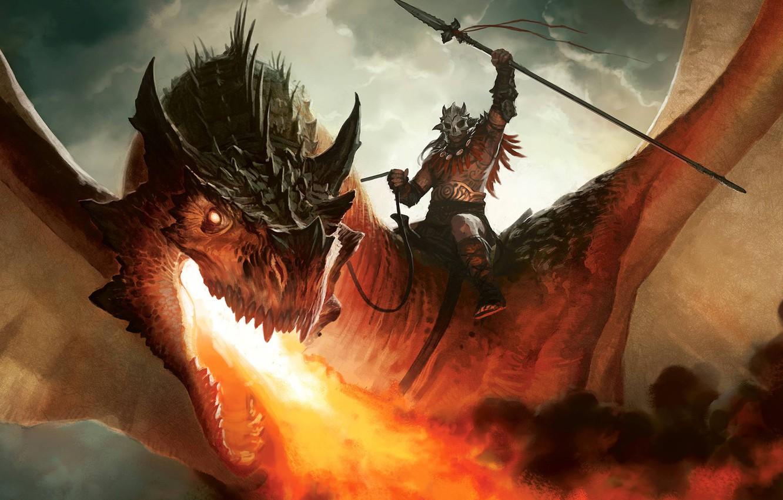 Photo wallpaper fire, dragon, figure, warrior, art, rider, Dragon,