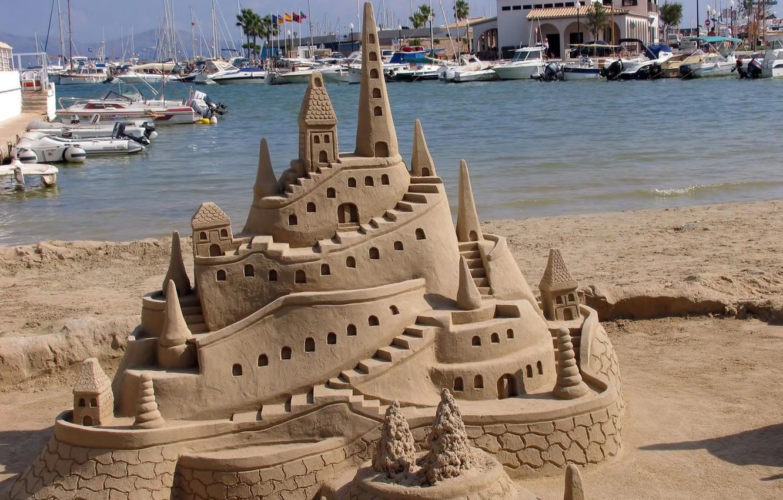 Photo wallpaper sea, beach, castle, yachts