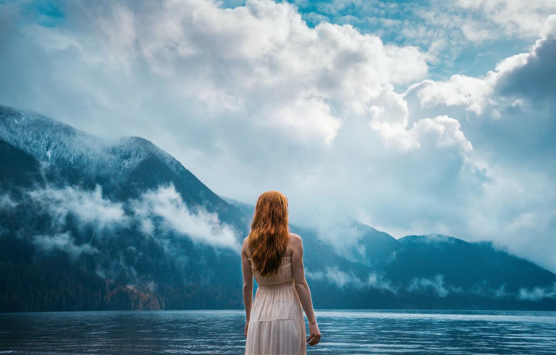 Photo wallpaper Girl, Red, Spring, Mist, Fog, Lake, Dreaming