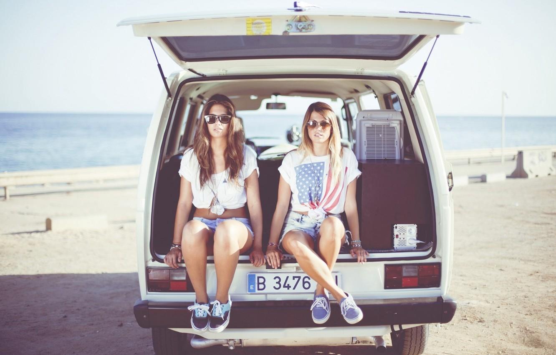 Photo wallpaper Girl, summer, beach, vintage, sea, retro, old, glasses