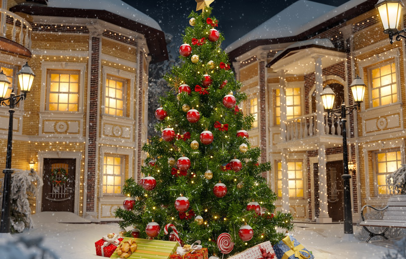 Photo wallpaper christmas, winter, snow, decoration, christmas tree