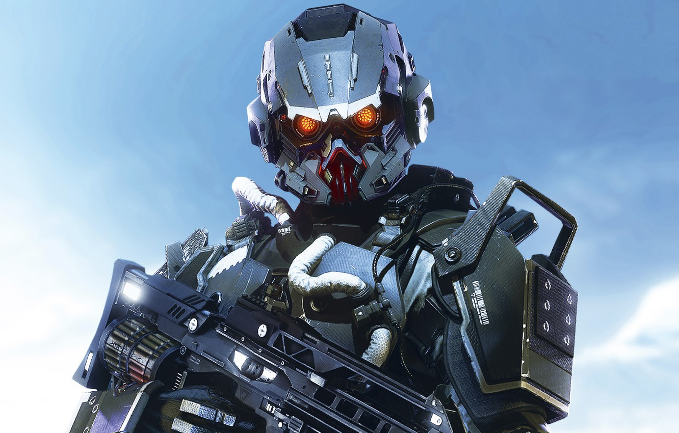 Photo wallpaper the sky, clouds, soldiers, helmet, armor, hose, Sony Computer Entertainment, Guerrilla Games, Killzone: Shadow Fall, …