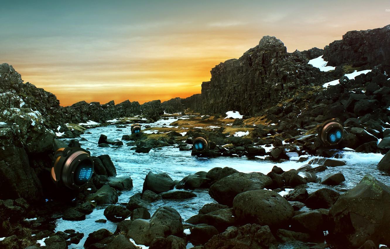 Photo wallpaper stones, rocks, river, Iceland, thingvellir