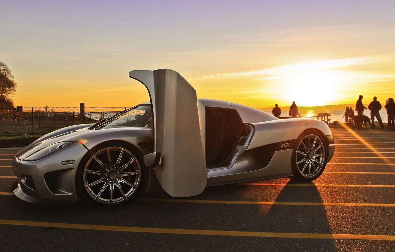 Photo wallpaper asphalt, sunset, Koenigsegg CCX