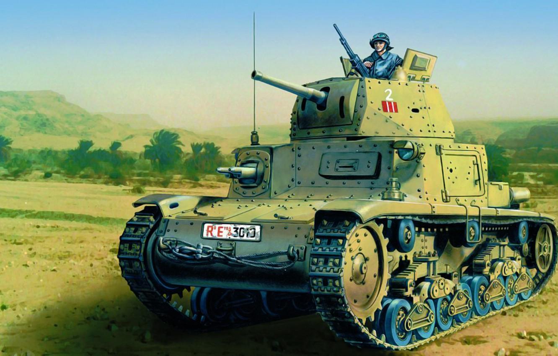 Wallpaper war, art, painting, tank, ww2, Italian Medium Tank