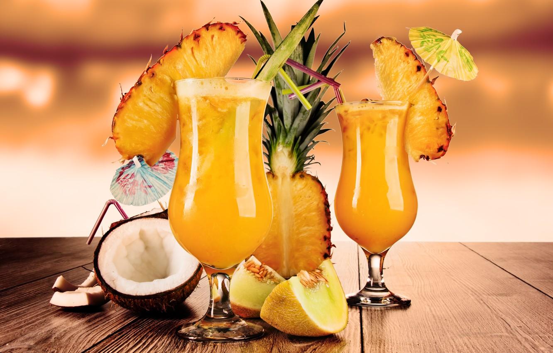 Photo wallpaper coconut, glasses, fruit, pineapple, cocktails, tube, melon, cocktails