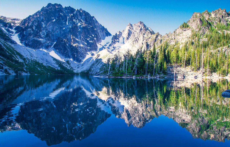 Photo wallpaper mountains, lake, reflection, Washington, Washington, The cascade mountains, Cascade Range, Lake Kolchak, Colchuck Peak, Alpine …