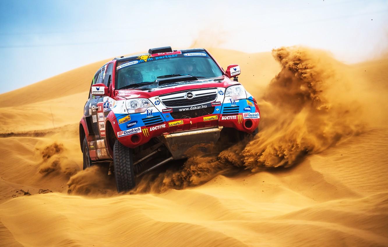 Photo wallpaper Sand, Auto, Sport, Desert, Machine, Speed, Race, Day, Opel, Rally, Dakar, SUV, Dune