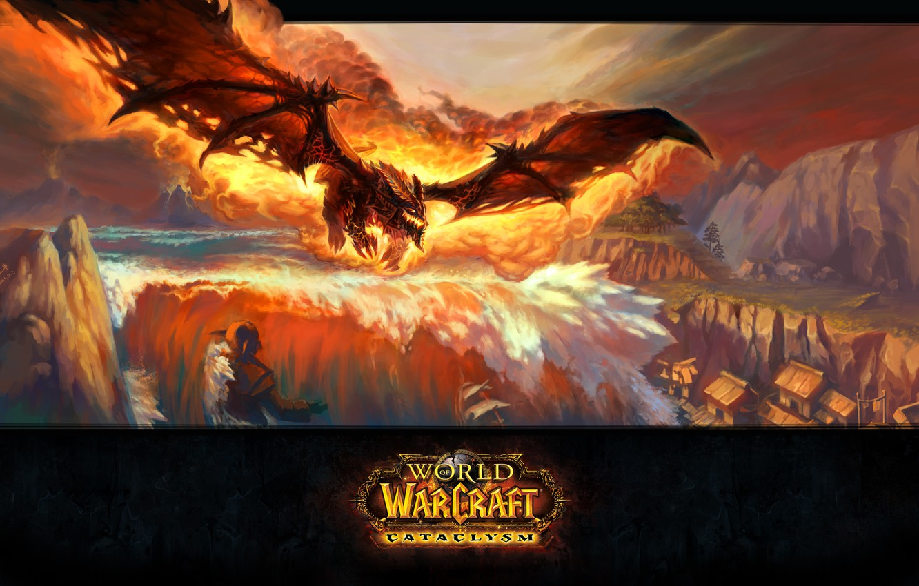 Wallpaper Flame Dragon Blizzard Wow World Of Warcraft Deathwing