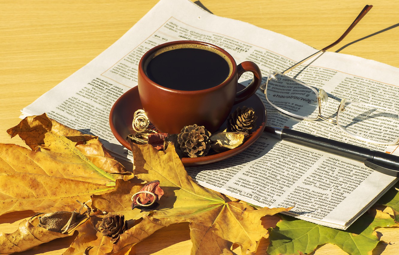 Photo wallpaper autumn, leaves, coffee, scarf, Cup, hot, autumn, leaves, cup, coffee