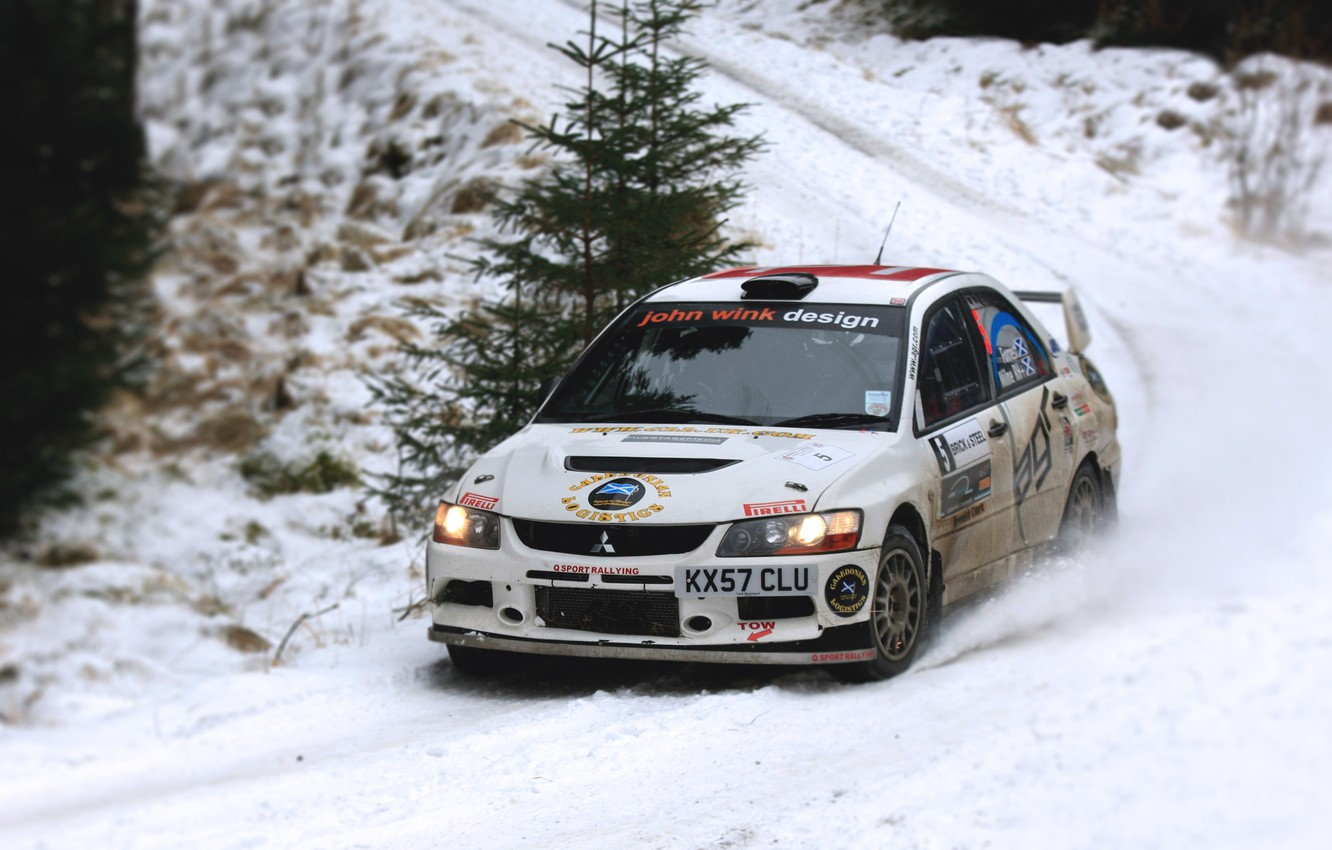 Photo wallpaper race, Winter, White, Snow, Sport, Mitsubishi, Lancer, WRC, Rally, Rally, Lancer, The front