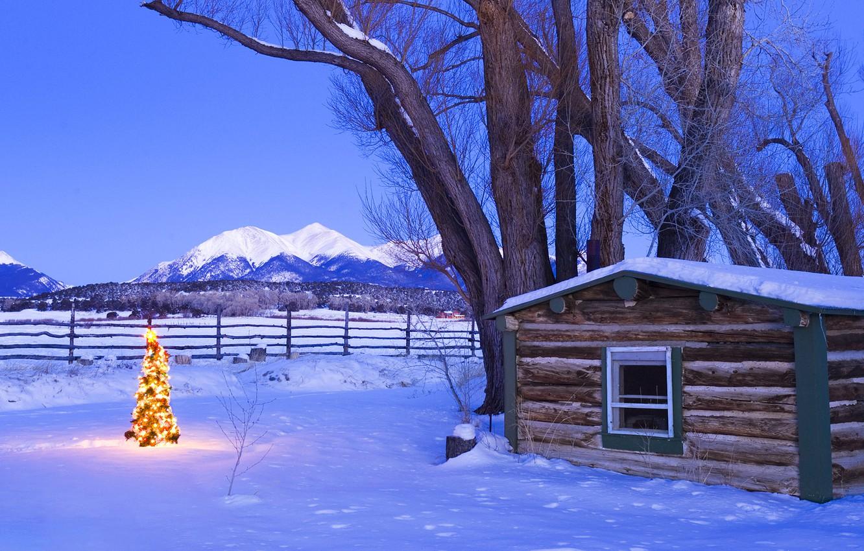 Photo wallpaper snow, mountains, house, tree