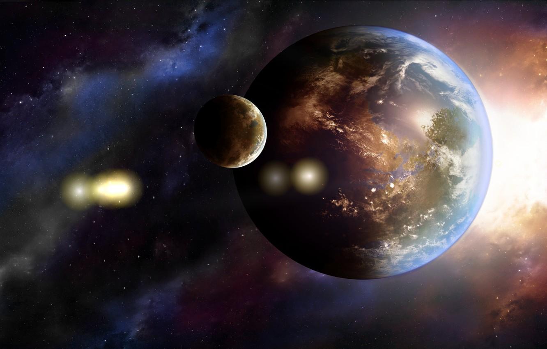 Photo wallpaper planet, art, Earth, galaxy