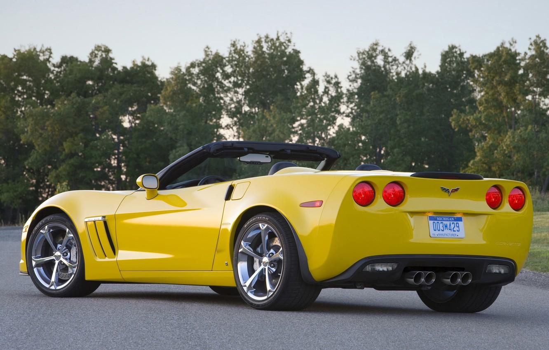 Photo wallpaper road, trees, yellow, Corvette, Chevrolet, Chevrolet, supercar, convertible, rear view, Grand Sport, Corvette