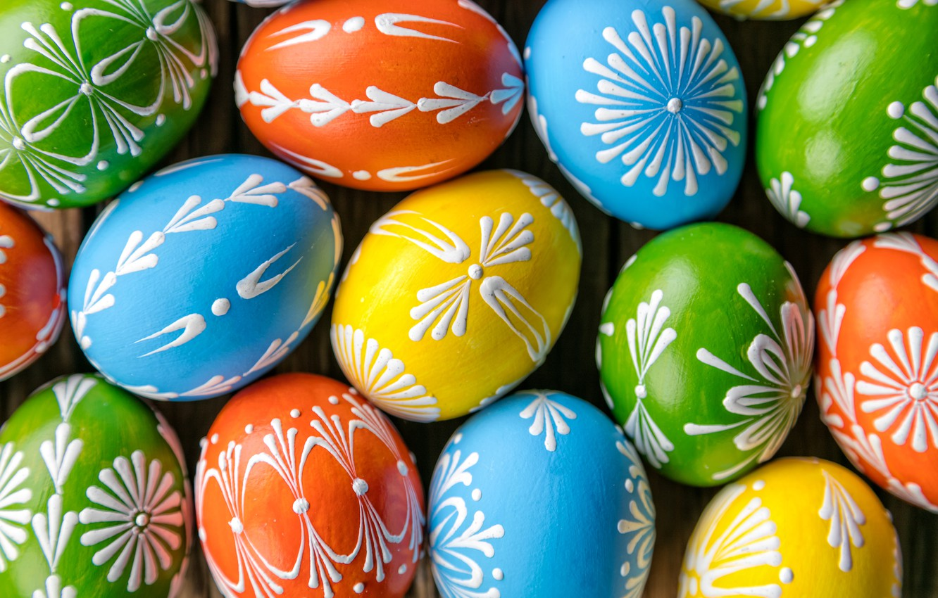 Photo wallpaper eggs, spring, colorful, Easter, happy, wood, spring, Easter, eggs, holiday