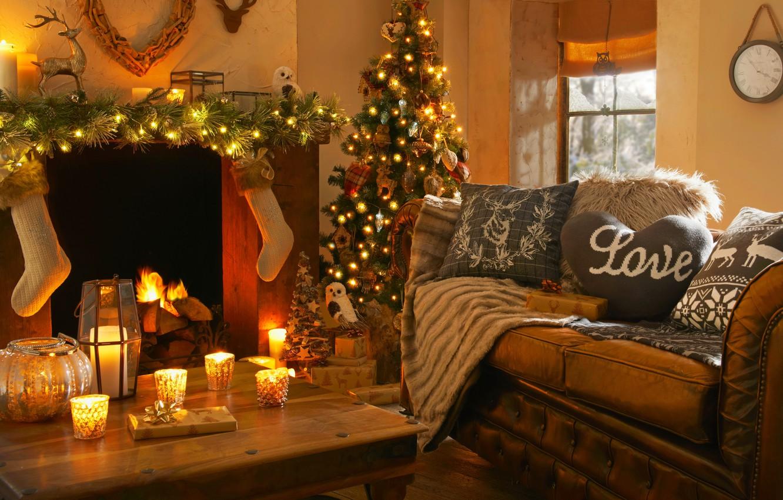 Photo wallpaper love, lights, heart, interior, candles, fireplace, love, heart, interior, candles, fireplace, Christmas tree, Christmas tree …