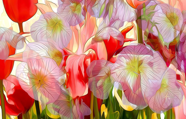 Photo wallpaper line, flowers, rendering, paint, petals, touch