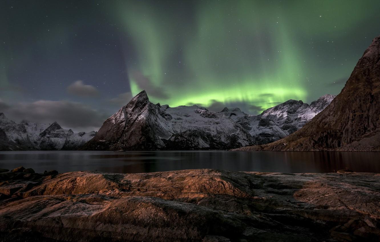 Photo wallpaper sea, landscape, mountains, night, lights
