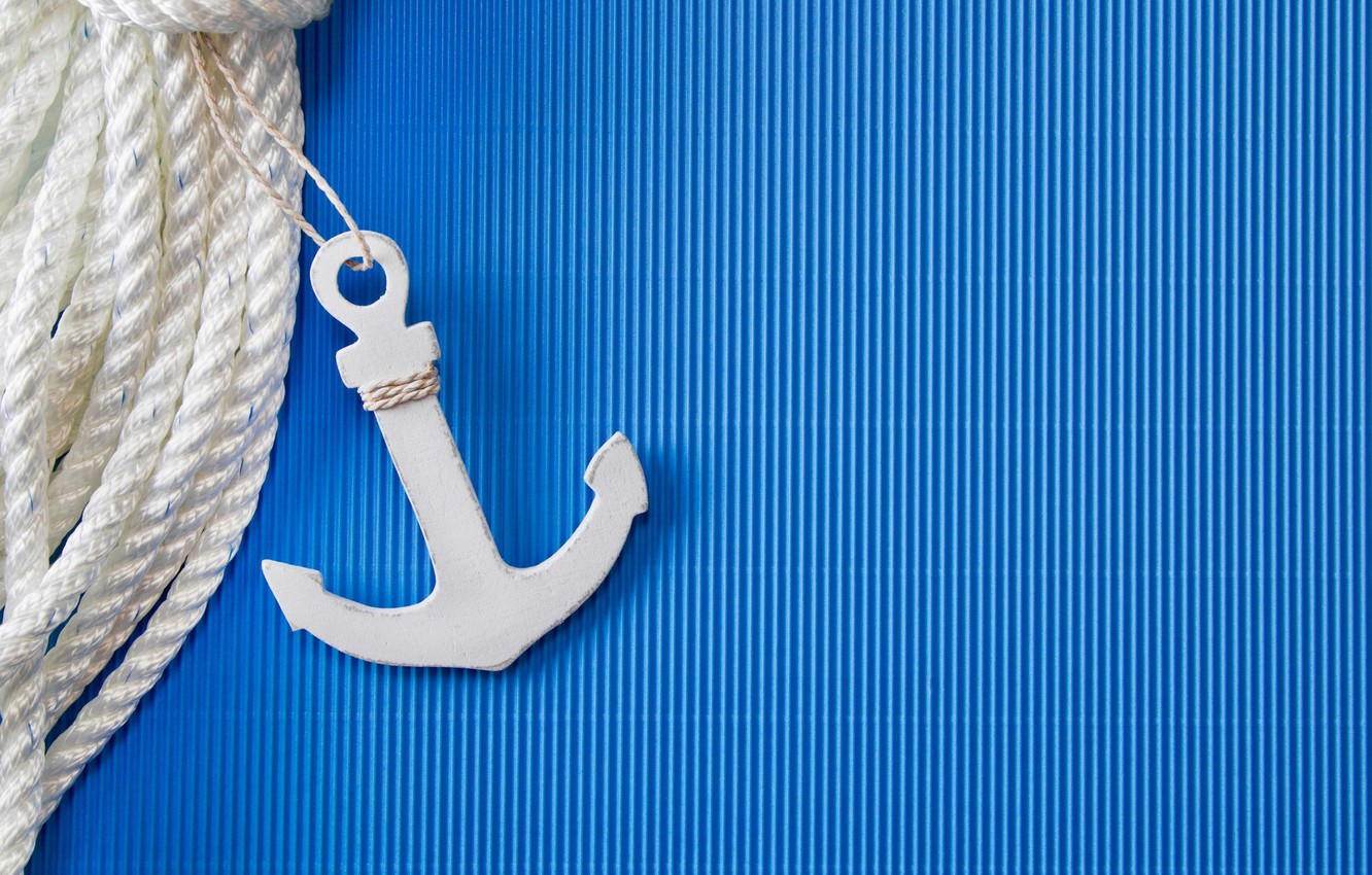 Photo wallpaper strip, background, blue, rope, anchor