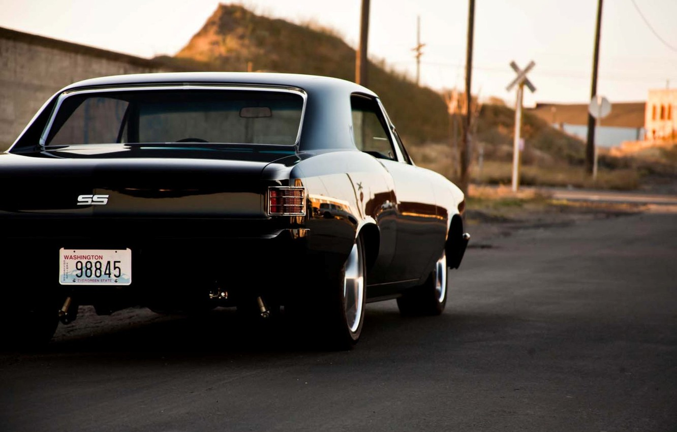 Photo wallpaper Chevrolet, black, tail, Chevelle, The Sickness, back side