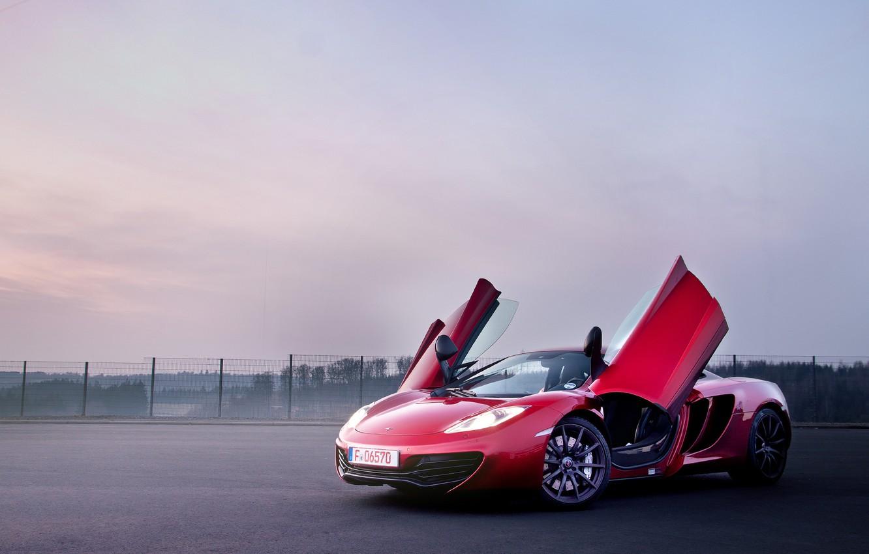 Photo wallpaper red, McLaren, supercar, red, MP4-12C, open doors, McLaren, door-butterfly