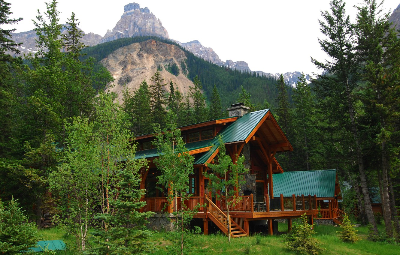 Photo wallpaper forest, the sky, trees, mountains, nature, house, Villa, Canada, canada, alberta