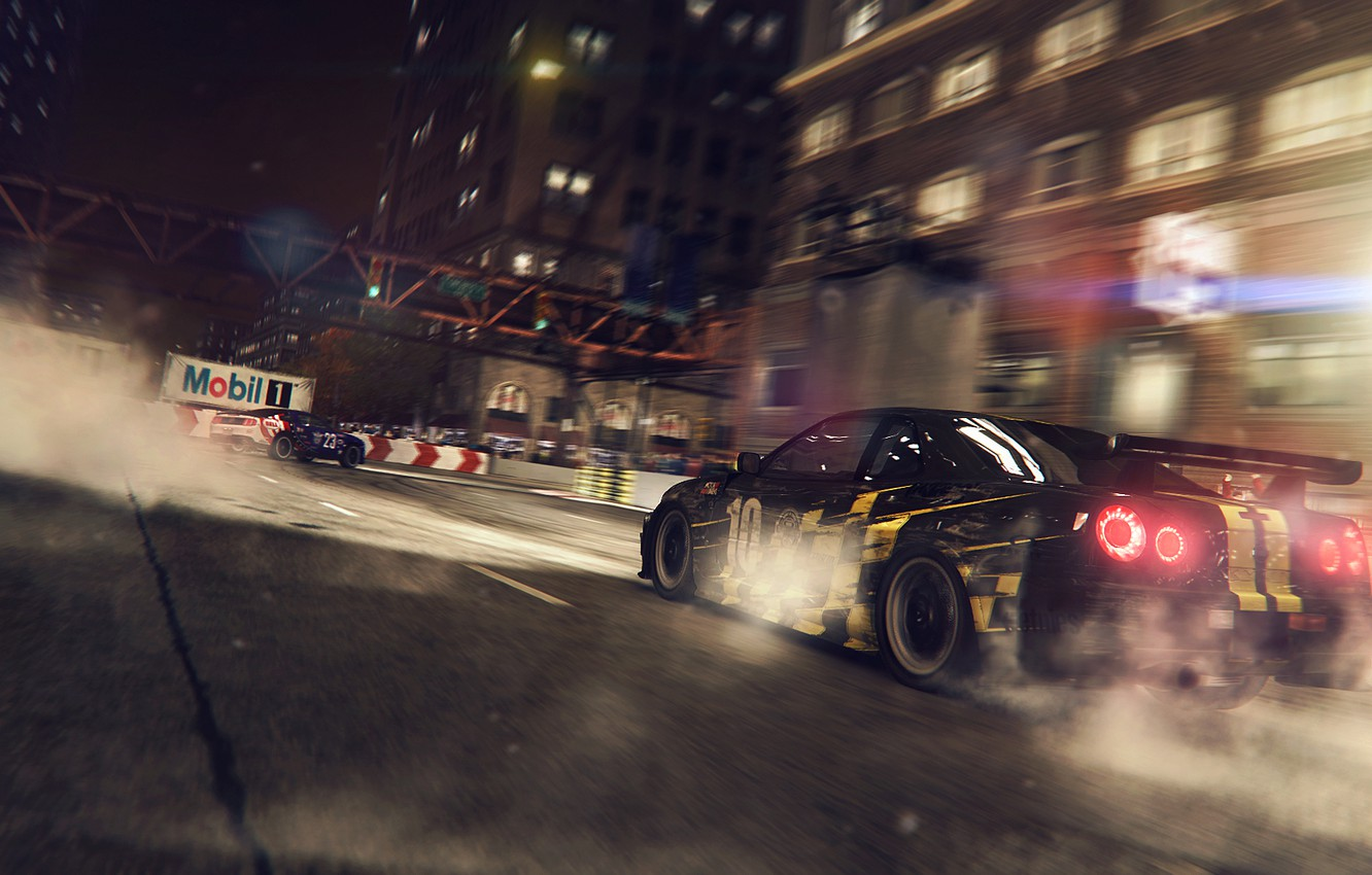 Photo wallpaper race, Ford, mustang, nissan, lights, game, tuning, gtr, Skyline, race, r34, Grid 2