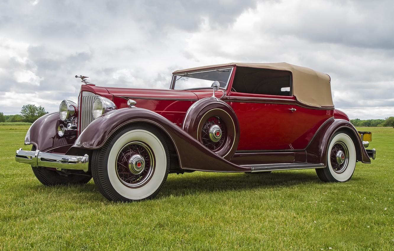 Photo wallpaper retro, classic, Packard, 1934 Packard 1105 Super Eight, 1934 Packard 1105 Convertible Victoria Super 8