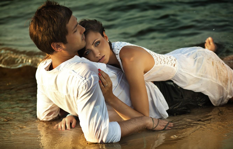 Photo wallpaper beach, love, happiness, sunset, romance, Pair, tenderness.