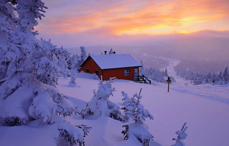 Photo wallpaper winter, the sky, snow, landscape, nature, house, house, white, sky, landscape, nature, sunset, beautiful, winter, …