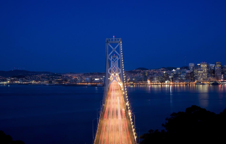 Photo wallpaper the sky, night, bridge, the city, lights, Strait, movement, excerpt, lighting, CA, San Francisco, USA, …