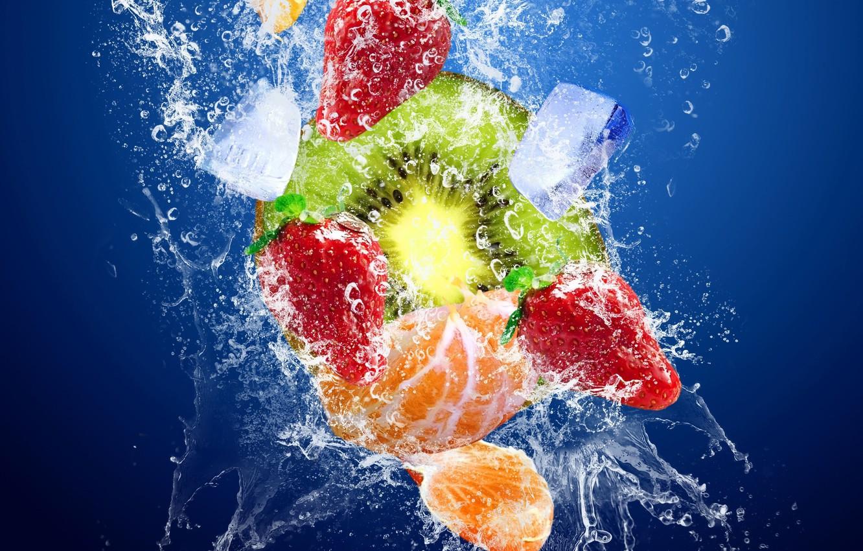 Photo wallpaper ice, water, squirt, kiwi, fruit