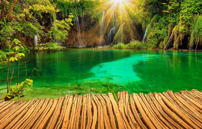 Photo wallpaper nature, lake, Park, photo, waterfalls, rays of light, Croatia, Plitvice