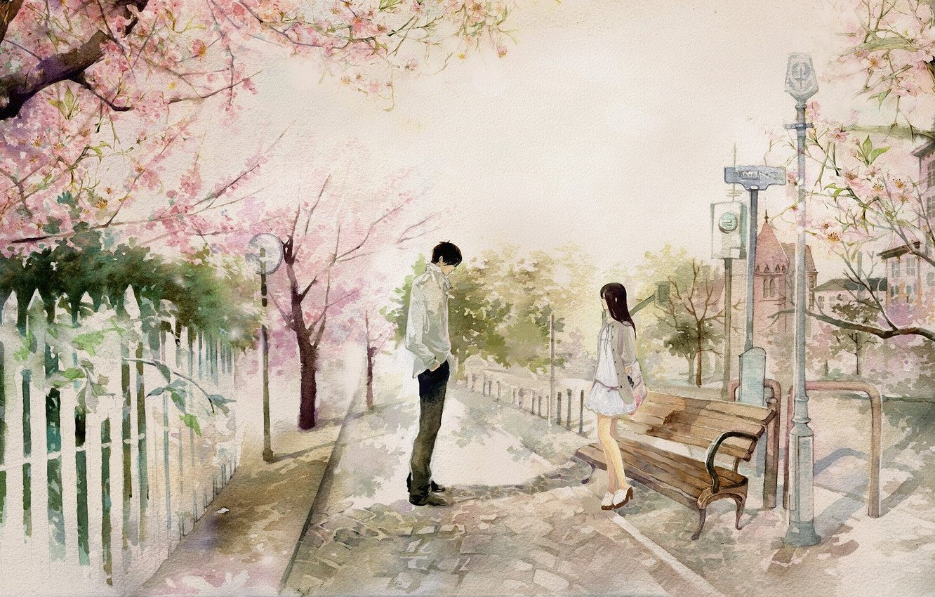 Photo wallpaper girl, bench, the city, Park, Sakura, art, shop, guy, date, he he wu
