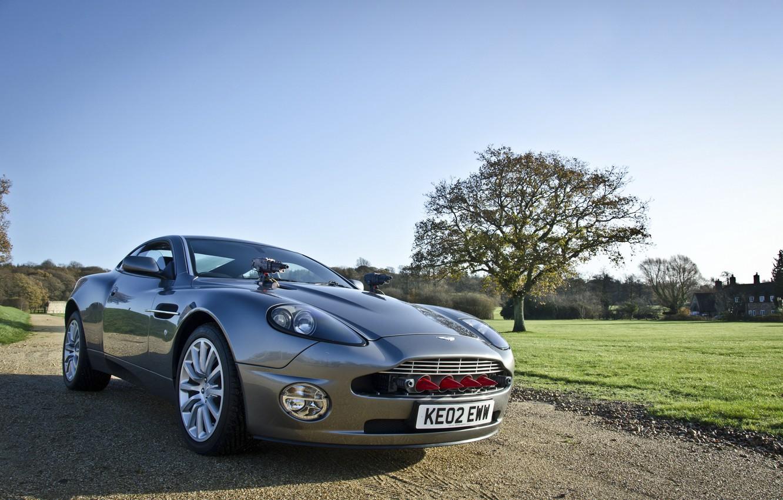 Photo wallpaper the sky, trees, Aston Martin, missiles, supercar, James Bond, 007, V12, the front, Aston Martin, …