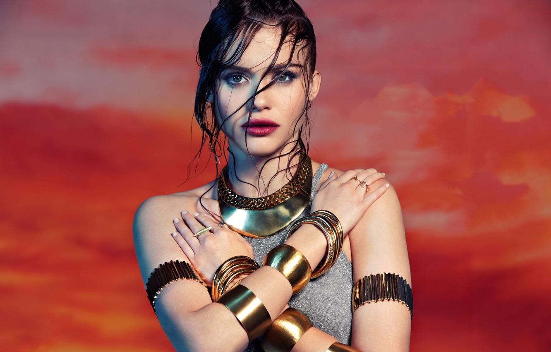 Photo wallpaper girl, hair, wet, hands, bracelets, Holland Roden