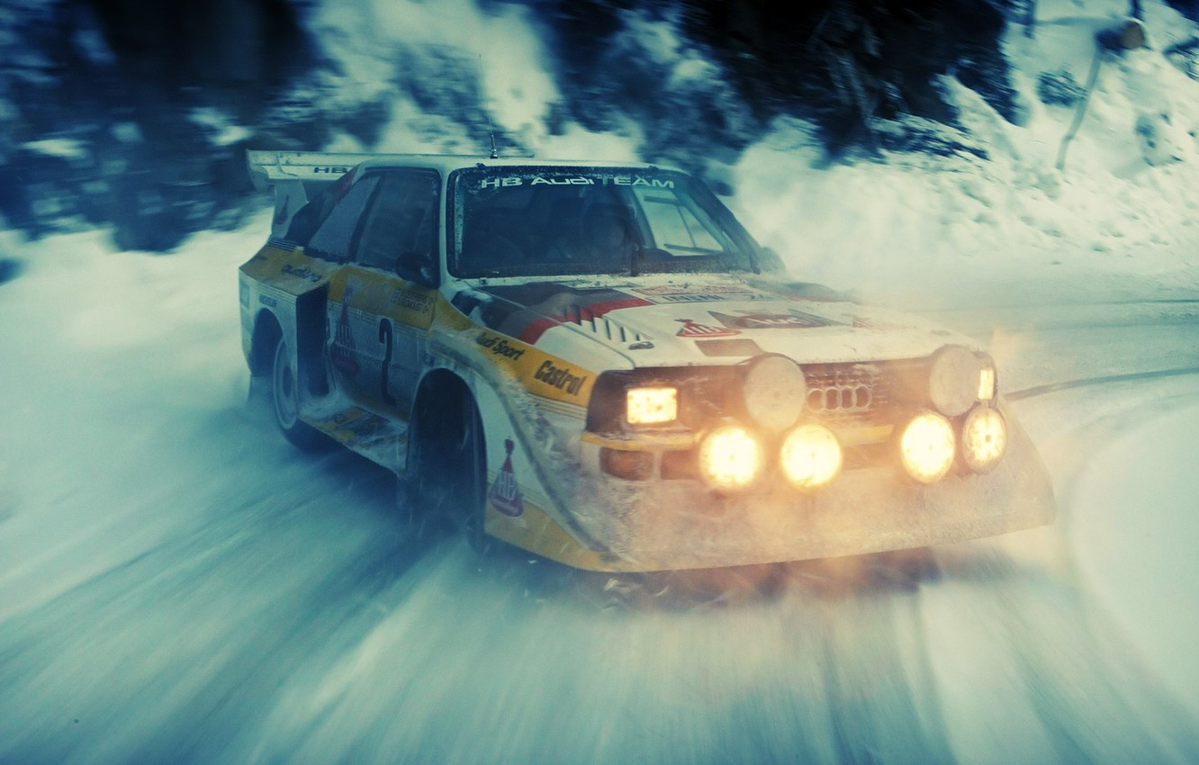 Photo wallpaper snow, Audi, skid, rally, rally, audi quattro